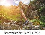 Hiking Sporty Girl Runs Along...