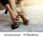 girl in stylish fashion... | Shutterstock . vector #575828431