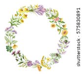 watercolor round frame with... | Shutterstock . vector #575830891