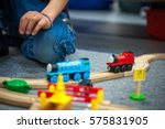 children play with wooden toy ... | Shutterstock . vector #575831905