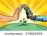 humans and robots protect nature | Shutterstock .eps vector #575835559