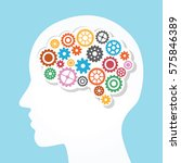 creative brain and gear vector... | Shutterstock .eps vector #575846389