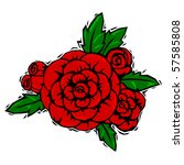 red rose corsage with leaves in ... | Shutterstock .eps vector #57585808