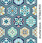 beautiful patchwork pattern for ... | Shutterstock . vector #575861905