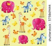fun zoo. children's picture.... | Shutterstock .eps vector #575869444