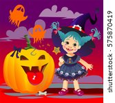 little cute witch with magic... | Shutterstock . vector #575870419