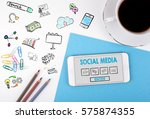 social media. mobile phone and... | Shutterstock . vector #575874355