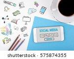 social media. mobile phone and... | Shutterstock . vector #575874355