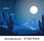 wild west night landscape.... | Shutterstock .eps vector #575875969