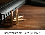 military set on wooden... | Shutterstock . vector #575884474