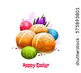 happy easter digital banner.... | Shutterstock . vector #575893801