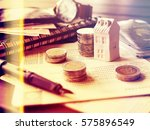 mortgage concept by money house ... | Shutterstock . vector #575896549