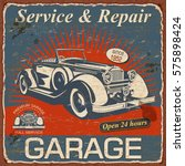 vintage garage  poster with... | Shutterstock .eps vector #575898424