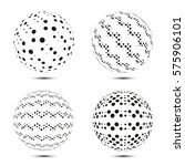 set of halftone spheres. vector ... | Shutterstock .eps vector #575906101