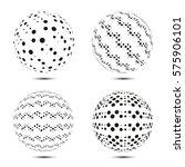 set of halftone spheres. vector ... | Shutterstock .eps vector #575906101