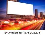 blank billboard on light trails ... | Shutterstock . vector #575908375