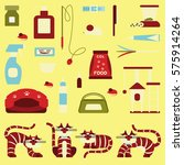 set of sign cat accessories.... | Shutterstock . vector #575914264