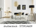 bright room with white sofa ... | Shutterstock . vector #575914609