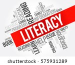 literacy word cloud collage ... | Shutterstock .eps vector #575931289