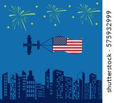 Airplane Usa Flag Icon Vector...
