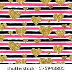 gold glittering heart confetti...   Shutterstock .eps vector #575943805