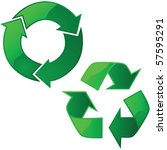 Vector illustration of two glossy recycling signs - stock vector