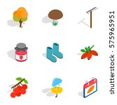 fall icons set. isometric 3d... | Shutterstock .eps vector #575965951
