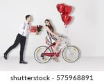 man with valentines presents... | Shutterstock . vector #575968891