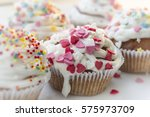 valentine's day cupcake with... | Shutterstock . vector #575973709