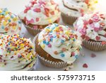 colorful cupcakes with white... | Shutterstock . vector #575973715