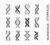 Dna Icons Set Vector...