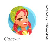 beautiful woman as cancer... | Shutterstock .eps vector #575994691