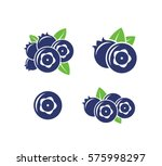 blueberry. icon set. fresh... | Shutterstock .eps vector #575998297