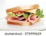 chicken slices sandwich | Shutterstock . vector #575999629