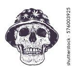 rasta skull in hat with...   Shutterstock .eps vector #576003925
