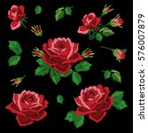 Stock vector red roses embroidery on black background set of elements for design leaves flowers and buds 576007879