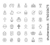 Easter Linear Icons Set. Easte...