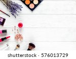 cosmetic on white table with... | Shutterstock . vector #576013729