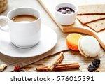 breakfast with coffee  crackers ... | Shutterstock . vector #576015391