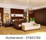 luxury bedroom in brown color...   Shutterstock . vector #57601783