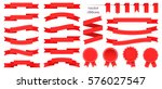 set of red ribbons and round... | Shutterstock .eps vector #576027547