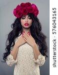 glamorous woman in white... | Shutterstock . vector #576043165