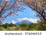 mt. fuji with sakura blossom | Shutterstock . vector #576046915