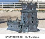 Miniature of Belem Tower (Torre de Belem), a UNESCO World Heritage Site, built in the 16th century - stock photo