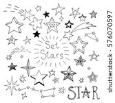 Set Of Hand Drawn Stars. Vecto...