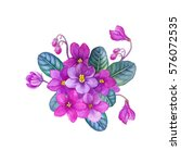Watercolor Hand Painted Violet...