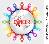 world cancer awareness ribbon... | Shutterstock .eps vector #576072841