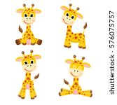 Cute Cartoon Giraffes  Set.