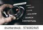 hand turning a button with the... | Shutterstock . vector #576082465