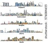 abstract vector illustrations of asian cities(Singapore, Kuala Lumpur, Bangkok, Jakarta and Manila) skylines | Shutterstock vector #576084655